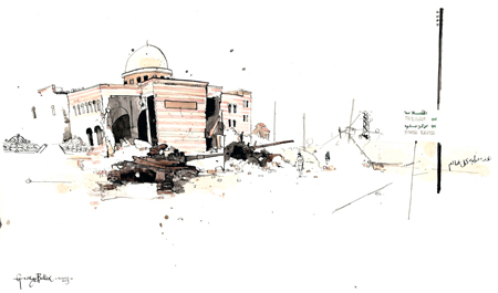 Tanks before the Mosque 340 x 560mm August 2012 Pen, Ink and Watercolour  'If you arrive form Kilis, Turkey this will be the third thing you see, the first is an abandoned tank, the second a petrol station blown inside out, and this the third, around the corner form the bakery and in the shadow of the mosque tanks lie half buried. Children rotate the turret of one of them. An older kid sits in the bottom of one picking out the bolts to use later. It becomes all the more real when you stand on a pile of bullet casings in the knowledge that someone was here being shot at, shooting back... who knows what happened after that but this scene is the eventual result.'  George Butler
