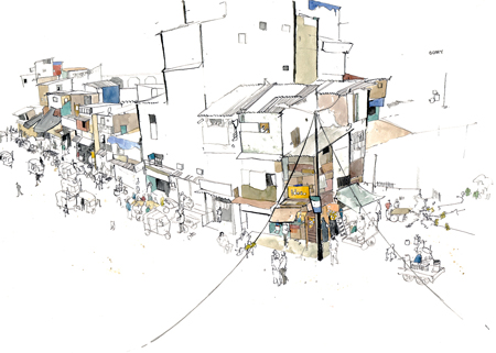 Slums from the overpass 360 x 560 March 2013 Pen, Ink and Watercolour 'This is not an uncommon sight in Mumbai, home to 22 million people (the population of Syria). But a real sense of community, family. Mumbai has this attitude where anything is possible for anyone. Drawn for Medecins sans Frontieres.'  George Butler