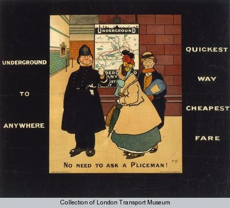 John Hassall - 'No Need to ask a P'liceman', the first poster to be comissioned by Frank Pick in 1908