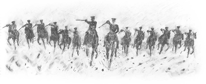 Rae Smith, Cavalry Charge II, Pencil and charcoal on paper, 240 x 550mm, War Horse, written by Michael Morpurgo, published by Egmont Publishing, 2013