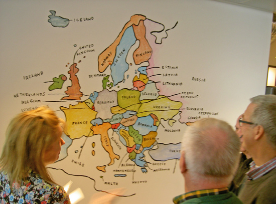 Handmade map for the Grafill wall (so all delegates knew where they were coming from)