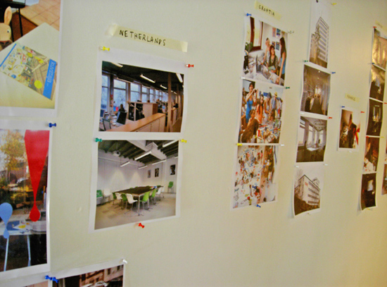 Photos from each organisations' office were pinned up