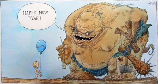 Chris Riddell, A Fragile Recovery. Published in The Observer